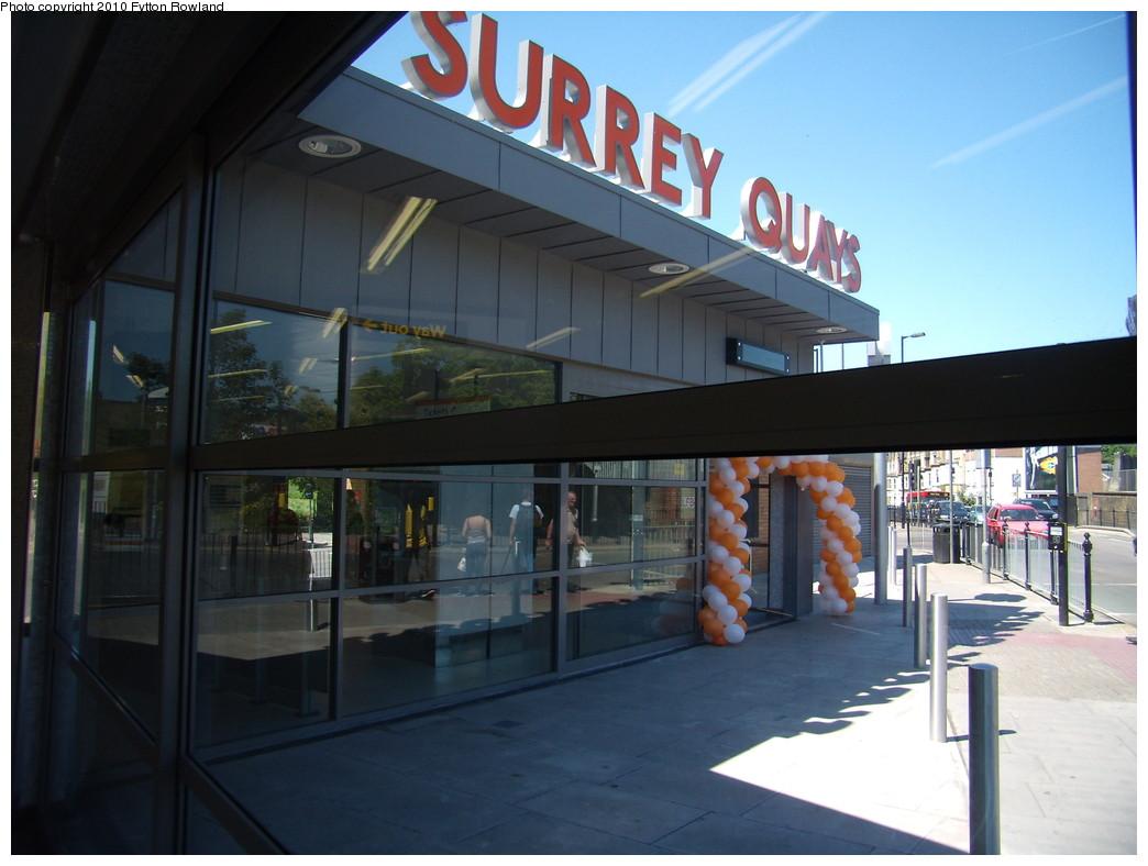 (176k, 1044x788)<br><b>Country:</b> United Kingdom<br><b>City:</b> London<br><b>System:</b> London Overground<br><b>Line:</b> East London<br><b>Location:</b> Surrey Quays<br><b>Photo by:</b> Fytton Rowland<br><b>Date:</b> 5/23/2010<br><b>Notes:</b> Surrey Quays station, outside from inside!<br><b>Viewed (this week/total):</b> 0 / 702