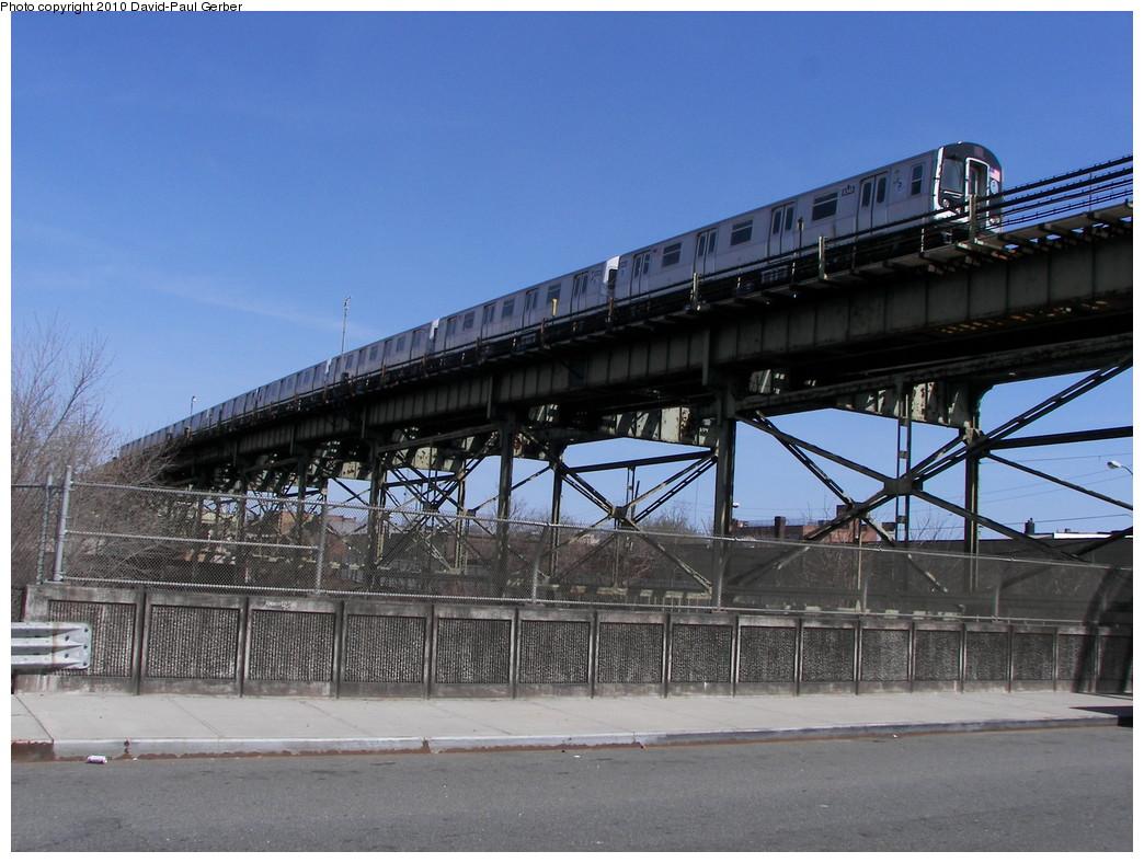 (273k, 1044x788)<br><b>Country:</b> United States<br><b>City:</b> New York<br><b>System:</b> New York City Transit<br><b>Line:</b> BMT Canarsie Line<br><b>Location:</b> Sutter Avenue <br><b>Route:</b> L<br><b>Car:</b> R-160A-1 (Alstom, 2005-2008, 4 car sets)  8345 <br><b>Photo by:</b> David-Paul Gerber<br><b>Date:</b> 4/3/2010<br><b>Notes:</b> On Glenmore Ave and Junius St, Rockaway Parkway-bound train.<br><b>Viewed (this week/total):</b> 2 / 1292