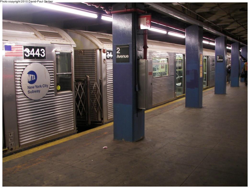 (251k, 1044x788)<br><b>Country:</b> United States<br><b>City:</b> New York<br><b>System:</b> New York City Transit<br><b>Line:</b> IND 6th Avenue Line<br><b>Location:</b> 2nd Avenue <br><b>Route:</b> C reroute<br><b>Car:</b> R-32 (Budd, 1964)  3443 <br><b>Photo by:</b> David-Paul Gerber<br><b>Date:</b> 4/17/2010<br><b>Viewed (this week/total):</b> 1 / 908