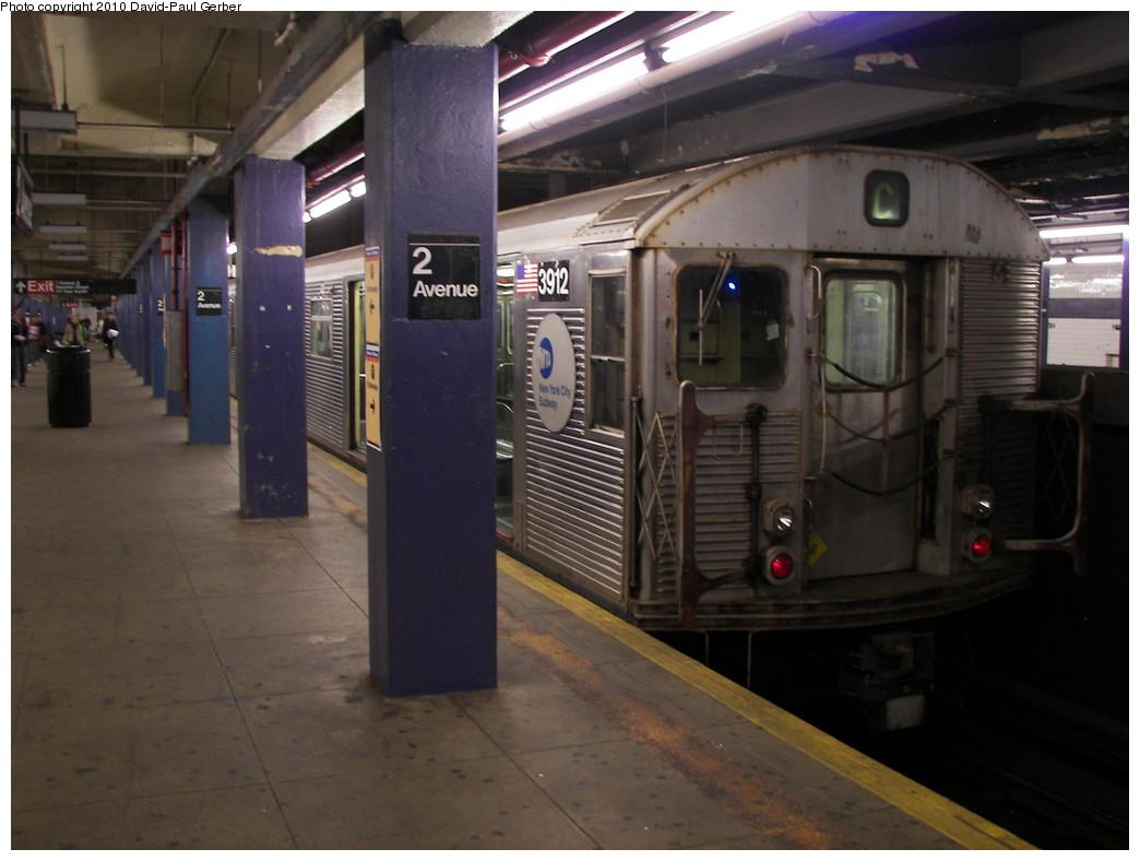 (233k, 1044x788)<br><b>Country:</b> United States<br><b>City:</b> New York<br><b>System:</b> New York City Transit<br><b>Line:</b> IND 6th Avenue Line<br><b>Location:</b> 2nd Avenue <br><b>Route:</b> C reroute<br><b>Car:</b> R-32 (Budd, 1964)  3912 <br><b>Photo by:</b> David-Paul Gerber<br><b>Date:</b> 4/17/2010<br><b>Viewed (this week/total):</b> 0 / 844