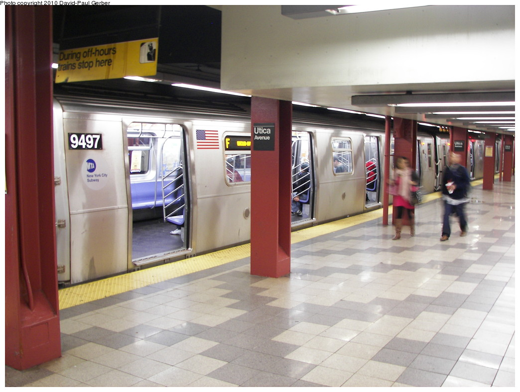 (240k, 1044x788)<br><b>Country:</b> United States<br><b>City:</b> New York<br><b>System:</b> New York City Transit<br><b>Line:</b> IND Fulton Street Line<br><b>Location:</b> Utica Avenue <br><b>Route:</b> F reroute<br><b>Car:</b> R-160A (Option 1) (Alstom, 2008-2009, 5 car sets)  9497 <br><b>Photo by:</b> David-Paul Gerber<br><b>Date:</b> 4/17/2010<br><b>Notes:</b> The low ceiling is the shell for the never built IND Utica Ave line<br><b>Viewed (this week/total):</b> 2 / 1625