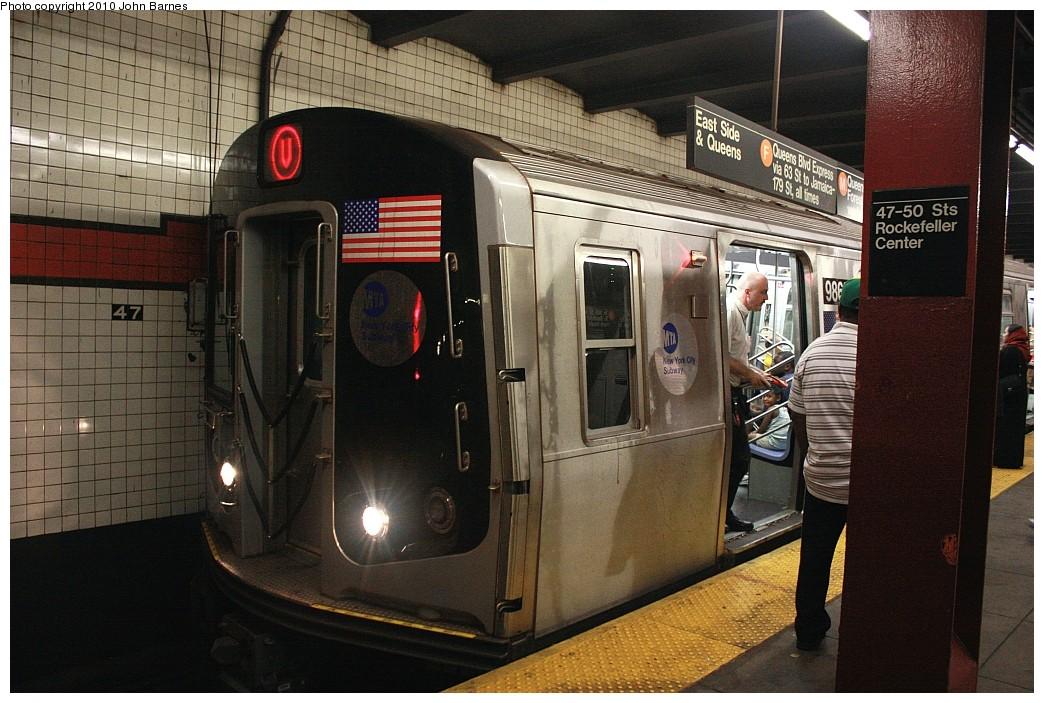 (225k, 1044x703)<br><b>Country:</b> United States<br><b>City:</b> New York<br><b>System:</b> New York City Transit<br><b>Line:</b> IND 6th Avenue Line<br><b>Location:</b> 47-50th Street/Rockefeller Center <br><b>Route:</b> V<br><b>Car:</b> R-160B (Option 2) (Kawasaki, 2009)  9868 <br><b>Photo by:</b> John Barnes<br><b>Date:</b> 6/25/2010<br><b>Notes:</b> V train final run.<br><b>Viewed (this week/total):</b> 0 / 1738