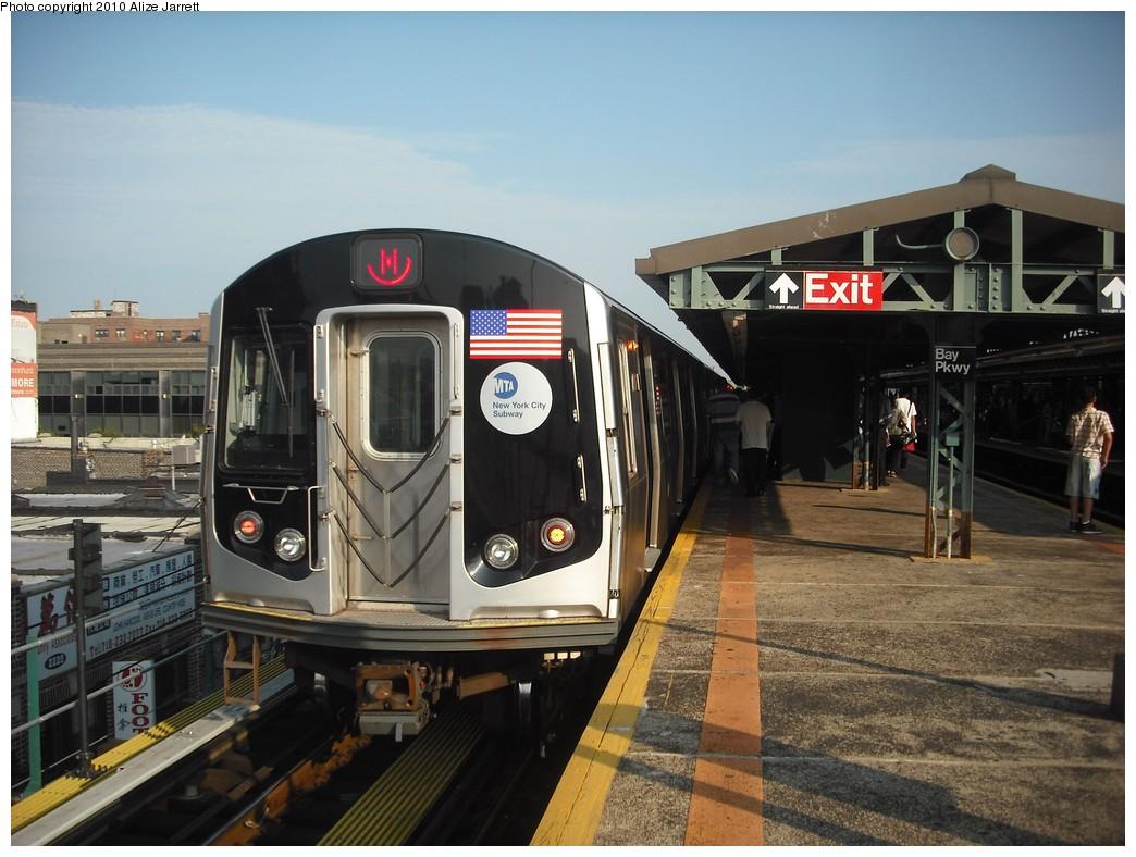 (203k, 1044x788)<br><b>Country:</b> United States<br><b>City:</b> New York<br><b>System:</b> New York City Transit<br><b>Line:</b> BMT West End Line<br><b>Location:</b> Bay Parkway <br><b>Route:</b> M<br><b>Car:</b> R-160A-1 (Alstom, 2005-2008, 4 car sets)   <br><b>Photo by:</b> Alize Jarrett<br><b>Date:</b> 6/24/2010<br><b>Viewed (this week/total):</b> 1 / 1046