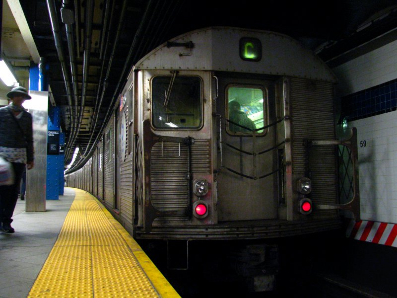 (99k, 800x600)<br><b>Country:</b> United States<br><b>City:</b> New York<br><b>System:</b> New York City Transit<br><b>Line:</b> IND 8th Avenue Line<br><b>Location:</b> 59th Street/Columbus Circle <br><b>Route:</b> C<br><b>Car:</b> R-32 (Budd, 1964)  3454 <br><b>Photo by:</b> Bill E.<br><b>Date:</b> 4/3/2010<br><b>Viewed (this week/total):</b> 3 / 1188