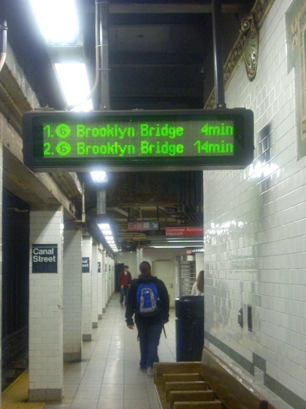 (115k, 600x800)<br><b>Country:</b> United States<br><b>City:</b> New York<br><b>System:</b> New York City Transit<br><b>Line:</b> IRT East Side Line<br><b>Location:</b> Canal Street <br><b>Photo by:</b> Bill E.<br><b>Date:</b> 4/23/2010<br><b>Notes:</b> New train arrival information display at Canal Street downtown platform (6)<br><b>Viewed (this week/total):</b> 0 / 1579