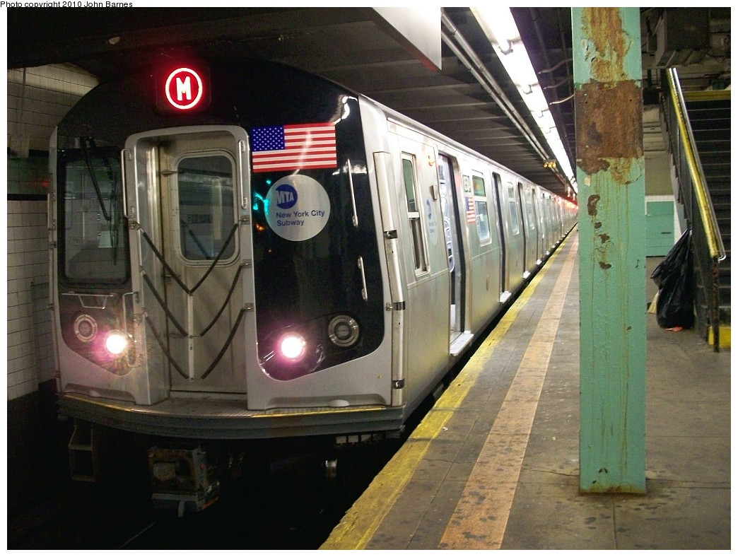 (224k, 1044x788)<br><b>Country:</b> United States<br><b>City:</b> New York<br><b>System:</b> New York City Transit<br><b>Line:</b> IND Queens Boulevard Line<br><b>Location:</b> 71st/Continental Aves./Forest Hills <br><b>Route:</b> M<br><b>Car:</b> R-160A-1 (Alstom, 2005-2008, 4 car sets)  8564 <br><b>Photo by:</b> John Barnes<br><b>Date:</b> 6/28/2010<br><b>Notes:</b> First day of (M) service to Queens Blvd.<br><b>Viewed (this week/total):</b> 1 / 1244