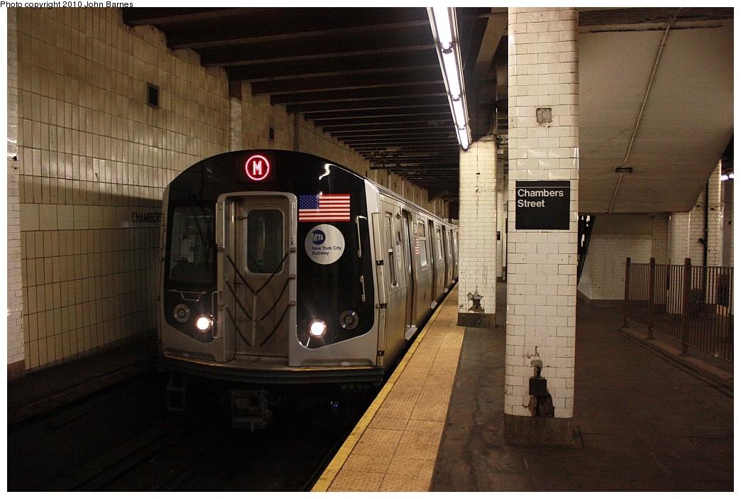 (212k, 1044x703)<br><b>Country:</b> United States<br><b>City:</b> New York<br><b>System:</b> New York City Transit<br><b>Line:</b> BMT Nassau Street/Jamaica Line<br><b>Location:</b> Chambers Street <br><b>Route:</b> M<br><b>Car:</b> R-160A-1 (Alstom, 2005-2008, 4 car sets)  8584 <br><b>Photo by:</b> John Barnes<br><b>Date:</b> 6/25/2010<br><b>Notes:</b> Last day of service to lower Manhattan<br><b>Viewed (this week/total):</b> 1 / 2071