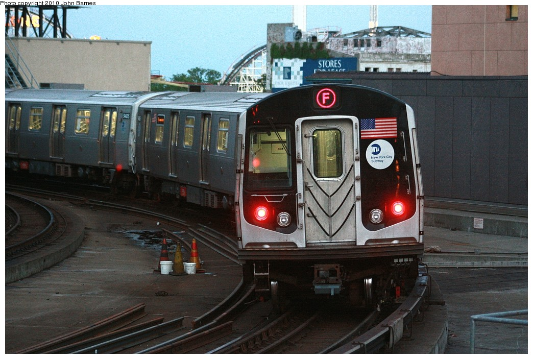 (222k, 1044x703)<br><b>Country:</b> United States<br><b>City:</b> New York<br><b>System:</b> New York City Transit<br><b>Location:</b> Coney Island/Stillwell Avenue<br><b>Route:</b> F<br><b>Car:</b> R-160A (Option 1) (Alstom, 2008-2009, 5 car sets)  9407 <br><b>Photo by:</b> John Barnes<br><b>Date:</b> 6/25/2010<br><b>Viewed (this week/total):</b> 0 / 1431