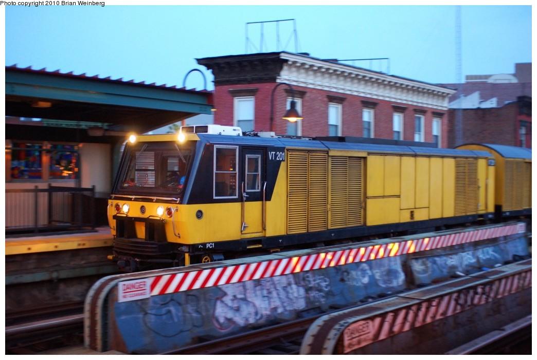 (227k, 1044x701)<br><b>Country:</b> United States<br><b>City:</b> New York<br><b>System:</b> New York City Transit<br><b>Line:</b> BMT Nassau Street/Jamaica Line<br><b>Location:</b> Hewes Street <br><b>Route:</b> Work Service<br><b>Car:</b> R-137 Vacuum Cleaning Train  VT201 <br><b>Photo by:</b> Brian Weinberg<br><b>Date:</b> 6/28/2010<br><b>Viewed (this week/total):</b> 2 / 1695