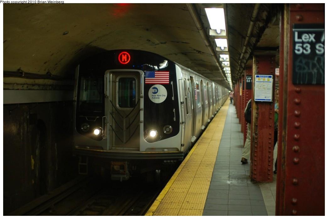 (189k, 1044x698)<br><b>Country:</b> United States<br><b>City:</b> New York<br><b>System:</b> New York City Transit<br><b>Line:</b> IND Queens Boulevard Line<br><b>Location:</b> Lexington Avenue-53rd Street <br><b>Route:</b> M<br><b>Car:</b> R-160A-1 (Alstom, 2005-2008, 4 car sets)  8529 <br><b>Photo by:</b> Brian Weinberg<br><b>Date:</b> 6/28/2010<br><b>Notes:</b> This was the first Orange (M) through the Chrystie Street Connection.<br><b>Viewed (this week/total):</b> 1 / 1450