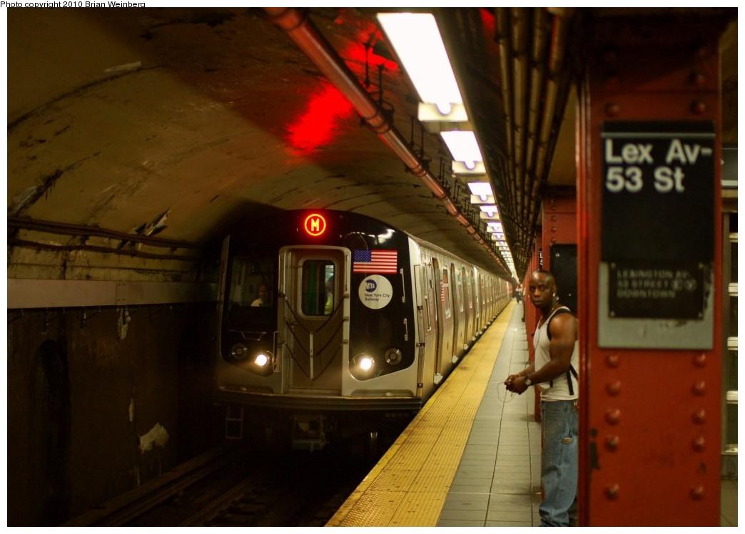 (209k, 1044x749)<br><b>Country:</b> United States<br><b>City:</b> New York<br><b>System:</b> New York City Transit<br><b>Line:</b> IND Queens Boulevard Line<br><b>Location:</b> Lexington Avenue-53rd Street <br><b>Route:</b> M<br><b>Car:</b> R-160A-1 (Alstom, 2005-2008, 4 car sets)  8641 <br><b>Photo by:</b> Brian Weinberg<br><b>Date:</b> 6/28/2010<br><b>Notes:</b> This was the first southbound Orange (M) through the Chrystie Street Connection.<br><b>Viewed (this week/total):</b> 0 / 1700