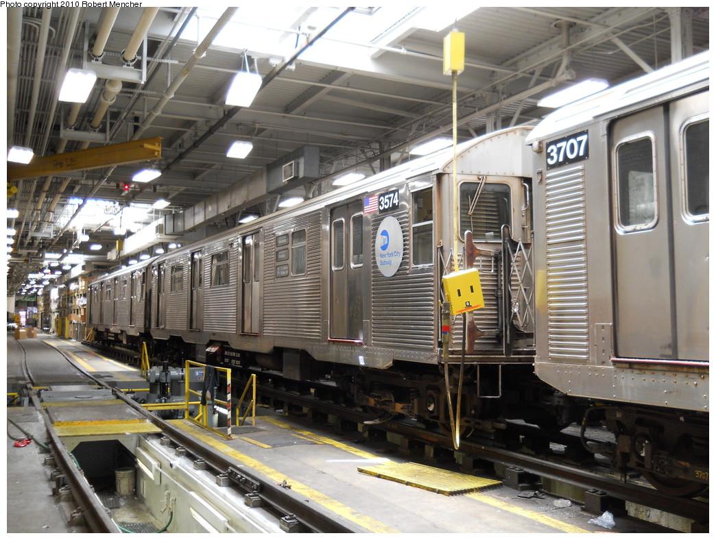 (315k, 1044x788)<br><b>Country:</b> United States<br><b>City:</b> New York<br><b>System:</b> New York City Transit<br><b>Location:</b> East New York Yard/Shops<br><b>Car:</b> R-32 (Budd, 1964)  3574 <br><b>Photo by:</b> Robert Mencher<br><b>Date:</b> 7/3/2010<br><b>Viewed (this week/total):</b> 5 / 944