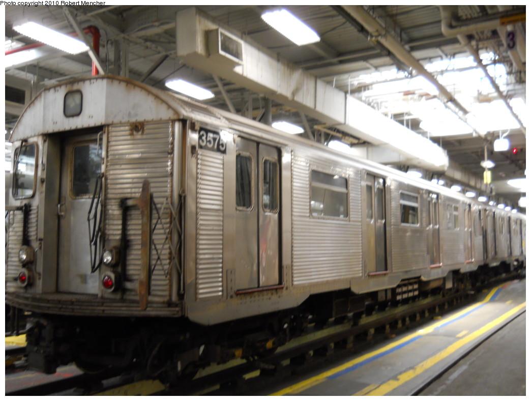 (235k, 1044x788)<br><b>Country:</b> United States<br><b>City:</b> New York<br><b>System:</b> New York City Transit<br><b>Location:</b> East New York Yard/Shops<br><b>Car:</b> R-32 (Budd, 1964)  3575 <br><b>Photo by:</b> Robert Mencher<br><b>Date:</b> 7/3/2010<br><b>Viewed (this week/total):</b> 0 / 817