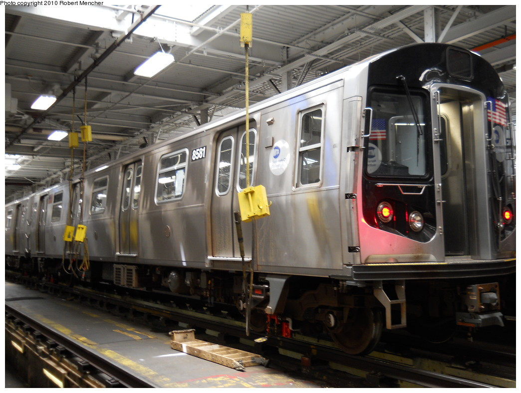 (264k, 1044x788)<br><b>Country:</b> United States<br><b>City:</b> New York<br><b>System:</b> New York City Transit<br><b>Location:</b> East New York Yard/Shops<br><b>Car:</b> R-160A-1 (Alstom, 2005-2008, 4 car sets)  8581 <br><b>Photo by:</b> Robert Mencher<br><b>Date:</b> 7/3/2010<br><b>Viewed (this week/total):</b> 1 / 950