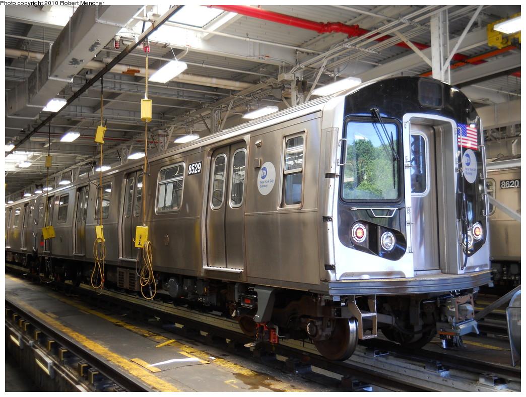 (312k, 1044x788)<br><b>Country:</b> United States<br><b>City:</b> New York<br><b>System:</b> New York City Transit<br><b>Location:</b> East New York Yard/Shops<br><b>Car:</b> R-160A-1 (Alstom, 2005-2008, 4 car sets)  8529 <br><b>Photo by:</b> Robert Mencher<br><b>Date:</b> 7/3/2010<br><b>Viewed (this week/total):</b> 0 / 650