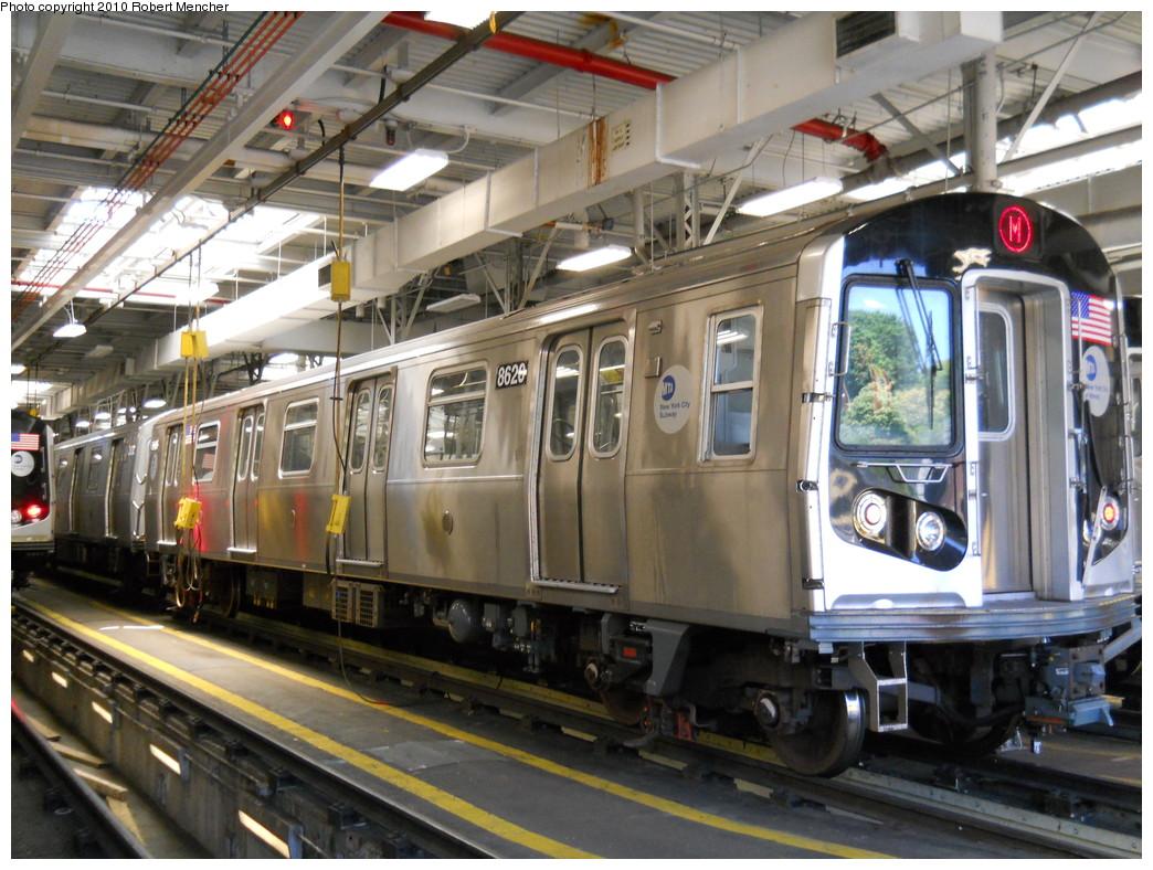 (303k, 1044x788)<br><b>Country:</b> United States<br><b>City:</b> New York<br><b>System:</b> New York City Transit<br><b>Location:</b> East New York Yard/Shops<br><b>Car:</b> R-160A-1 (Alstom, 2005-2008, 4 car sets)  8620 <br><b>Photo by:</b> Robert Mencher<br><b>Date:</b> 7/3/2010<br><b>Viewed (this week/total):</b> 0 / 997