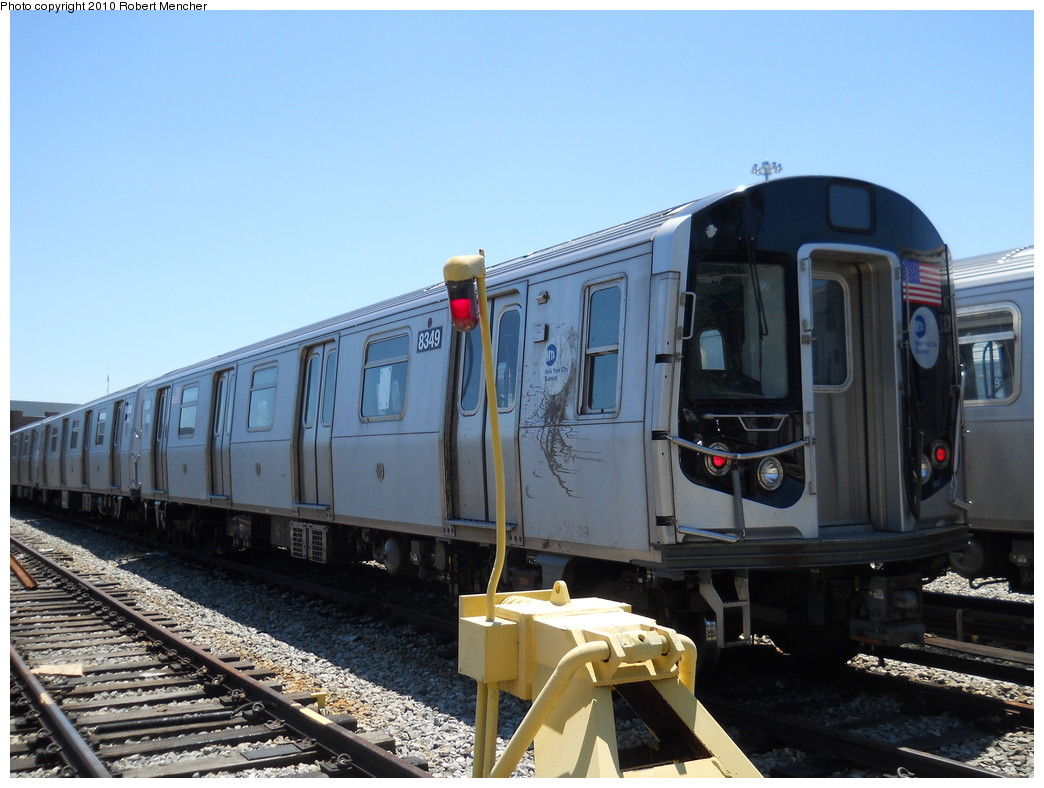(245k, 1044x788)<br><b>Country:</b> United States<br><b>City:</b> New York<br><b>System:</b> New York City Transit<br><b>Location:</b> East New York Yard/Shops<br><b>Car:</b> R-143 (Kawasaki, 2001-2002) 8349 <br><b>Photo by:</b> Robert Mencher<br><b>Date:</b> 7/3/2010<br><b>Viewed (this week/total):</b> 0 / 760