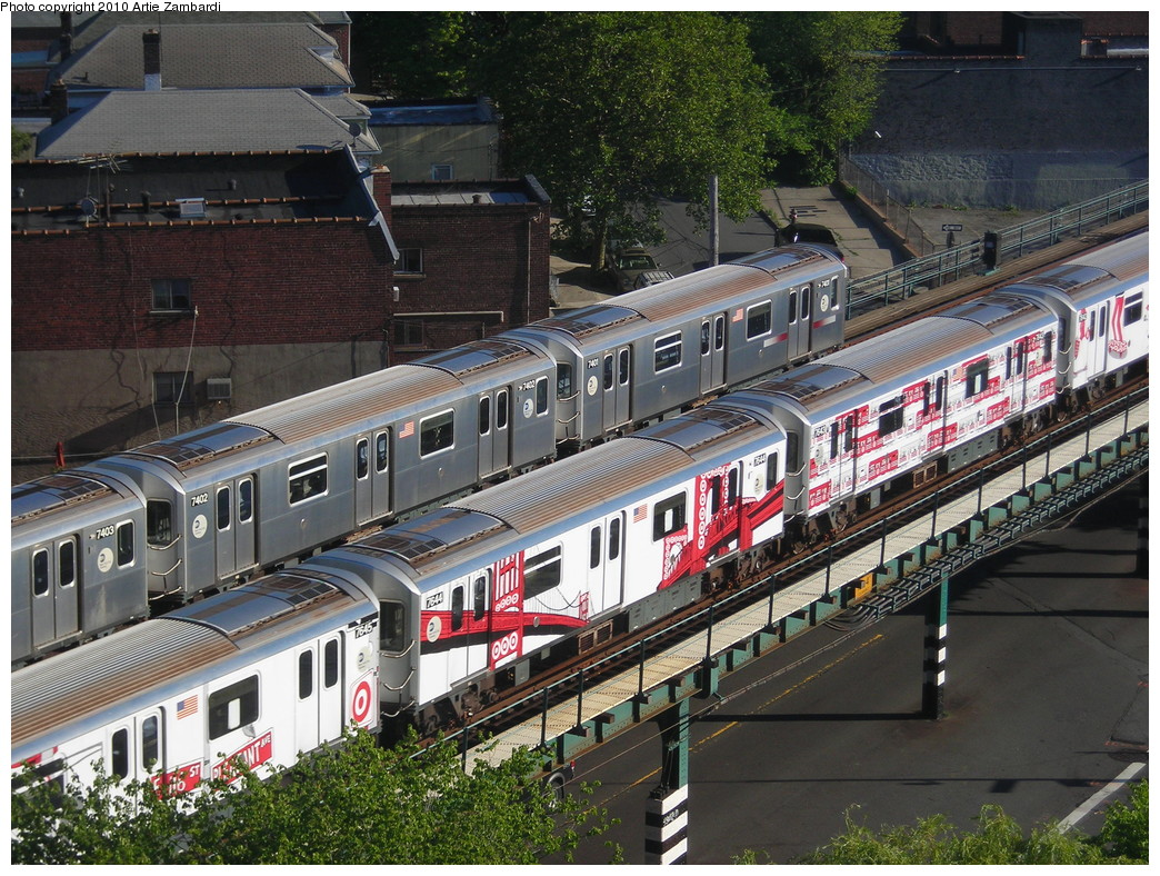 (340k, 1044x788)<br><b>Country:</b> United States<br><b>City:</b> New York<br><b>System:</b> New York City Transit<br><b>Line:</b> IRT Pelham Line<br><b>Location:</b> Buhre Avenue <br><b>Route:</b> 6<br><b>Car:</b> R-142A (Option Order, Kawasaki, 2002-2003)  7645, 7644, 7643 <br><b>Photo by:</b> Artie Zambardi<br><b>Date:</b> 7/3/2010<br><b>Notes:</b> Target ad wrap.<br><b>Viewed (this week/total):</b> 1 / 1712