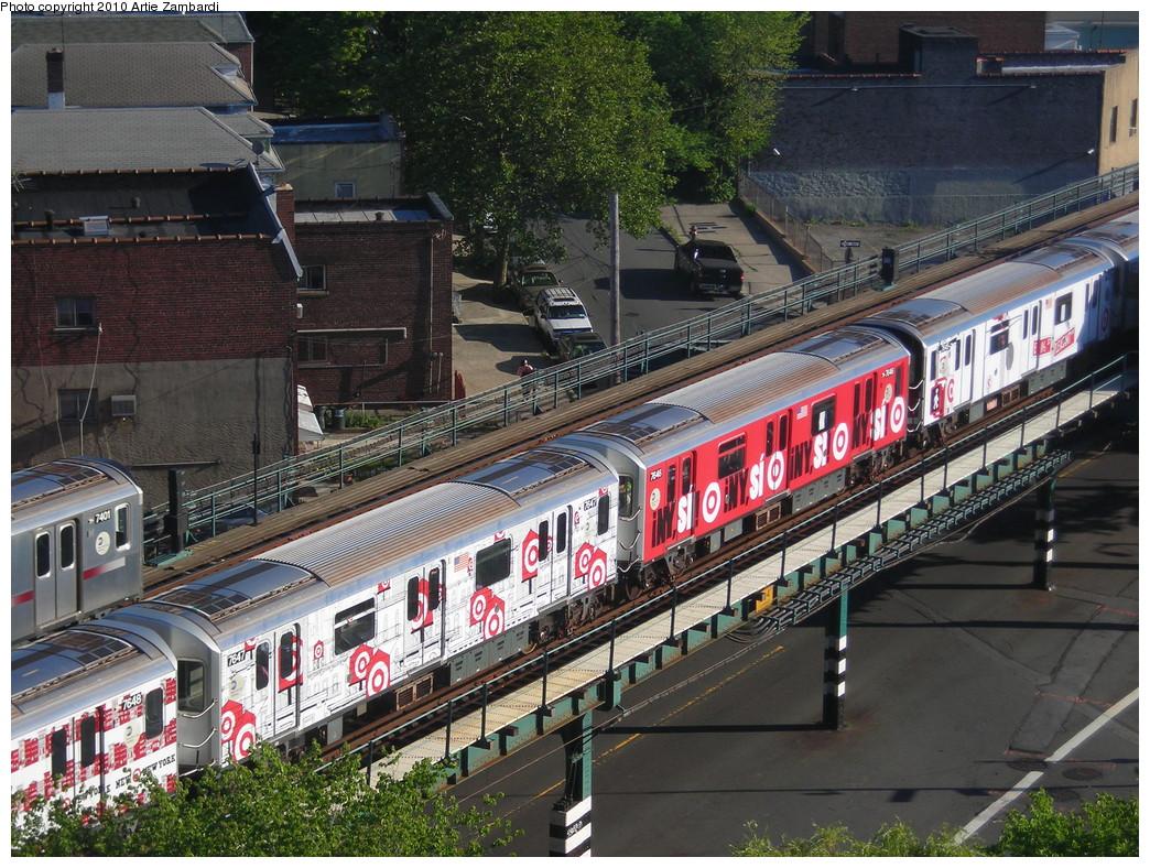 (346k, 1044x788)<br><b>Country:</b> United States<br><b>City:</b> New York<br><b>System:</b> New York City Transit<br><b>Line:</b> IRT Pelham Line<br><b>Location:</b> Buhre Avenue <br><b>Route:</b> 6<br><b>Car:</b> R-142A (Option Order, Kawasaki, 2002-2003)  7647, 7646 <br><b>Photo by:</b> Artie Zambardi<br><b>Date:</b> 7/3/2010<br><b>Notes:</b> Target ad wrap.<br><b>Viewed (this week/total):</b> 1 / 2098