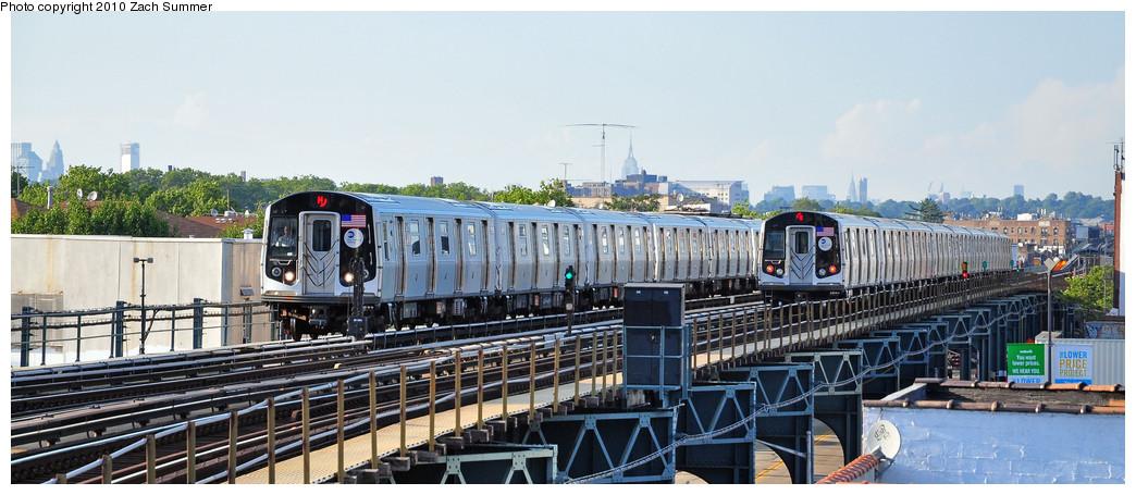 (202k, 1044x455)<br><b>Country:</b> United States<br><b>City:</b> New York<br><b>System:</b> New York City Transit<br><b>Line:</b> BMT West End Line<br><b>Location:</b> 18th Avenue <br><b>Route:</b> M<br><b>Car:</b> R-160A-1 (Alstom, 2005-2008, 4 car sets)  8569 / 8444 <br><b>Photo by:</b> Zach Summer<br><b>Date:</b> 6/24/2010<br><b>Viewed (this week/total):</b> 0 / 1475