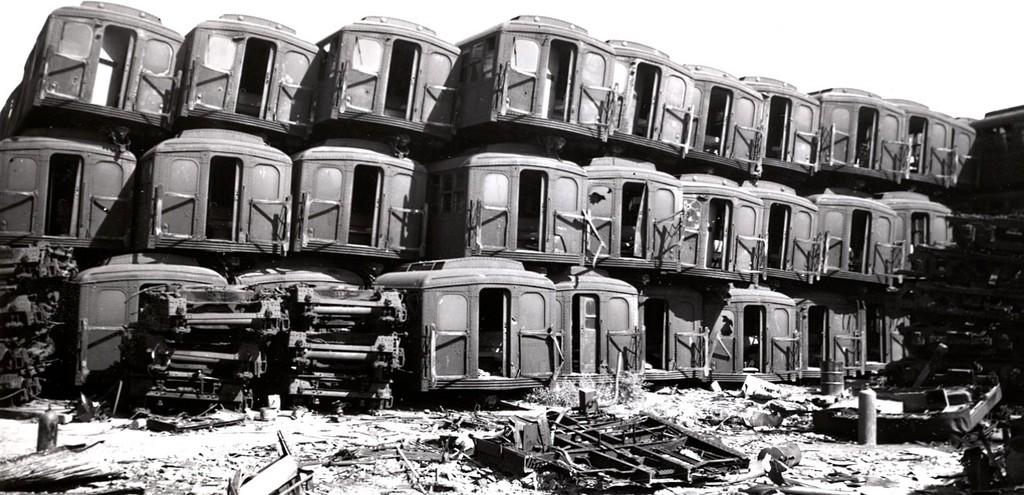 (173k, 1024x495)<br><b>Country:</b> United States<br><b>City:</b> New York<br><b>System:</b> New York City Transit<br><b>Location:</b> Coney Island Yard<br><b>Car:</b> BMT A/B-Type Standard  <br><b>Collection of:</b> George Conrad Collection<br><b>Notes:</b> Scrap pile near Avenue X & W 11th St.<br><b>Viewed (this week/total):</b> 0 / 4361