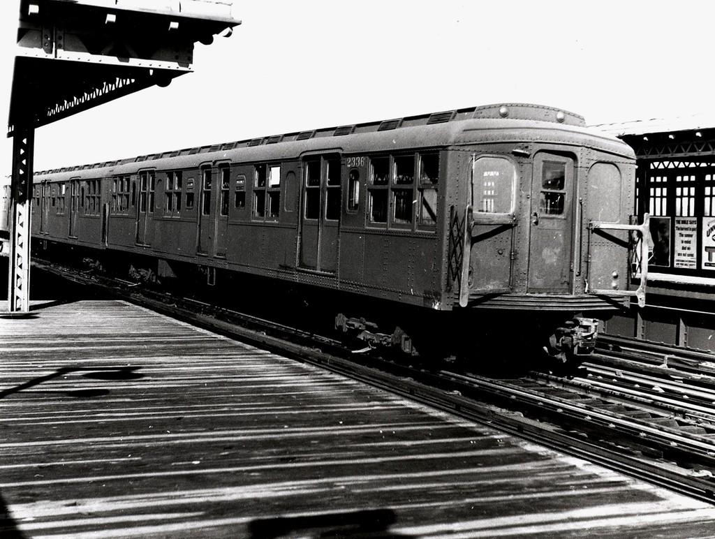 (232k, 1024x772)<br><b>Country:</b> United States<br><b>City:</b> New York<br><b>System:</b> New York City Transit<br><b>Line:</b> BMT West End Line<br><b>Location:</b> 20th Avenue <br><b>Car:</b> BMT A/B-Type Standard 2336 <br><b>Collection of:</b> George Conrad Collection<br><b>Date:</b> 10/27/1962<br><b>Viewed (this week/total):</b> 1 / 1536