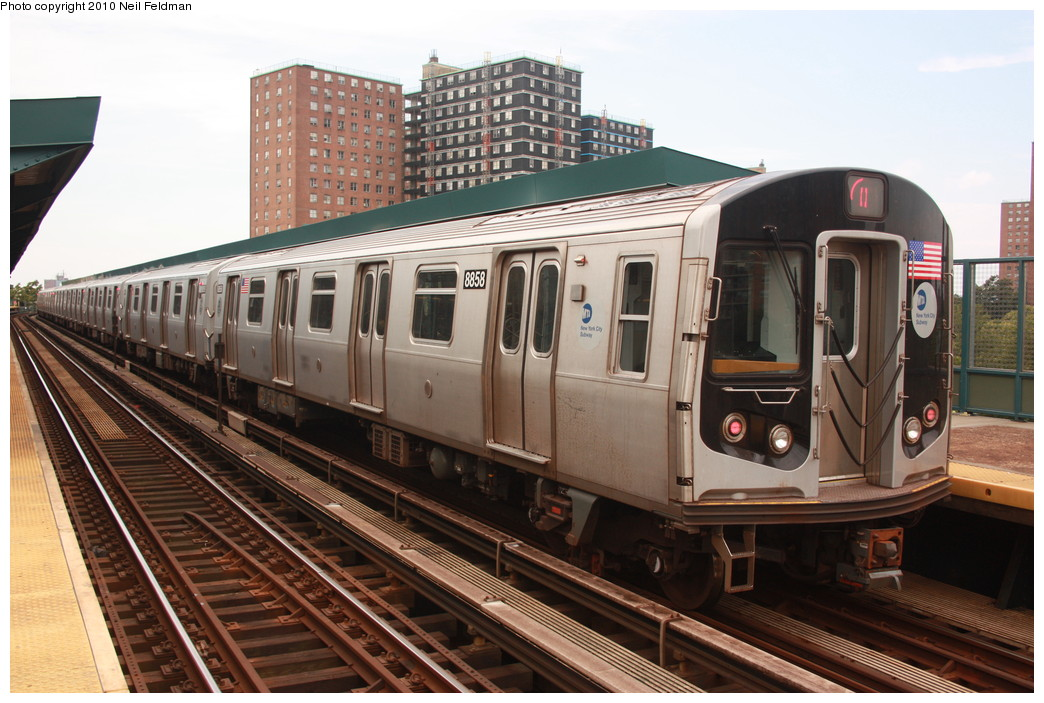 (225k, 1044x703)<br><b>Country:</b> United States<br><b>City:</b> New York<br><b>System:</b> New York City Transit<br><b>Line:</b> BMT Brighton Line<br><b>Location:</b> West 8th Street <br><b>Route:</b> Q<br><b>Car:</b> R-160B (Kawasaki, 2005-2008)  8858 <br><b>Photo by:</b> Neil Feldman<br><b>Date:</b> 6/28/2010<br><b>Viewed (this week/total):</b> 1 / 811
