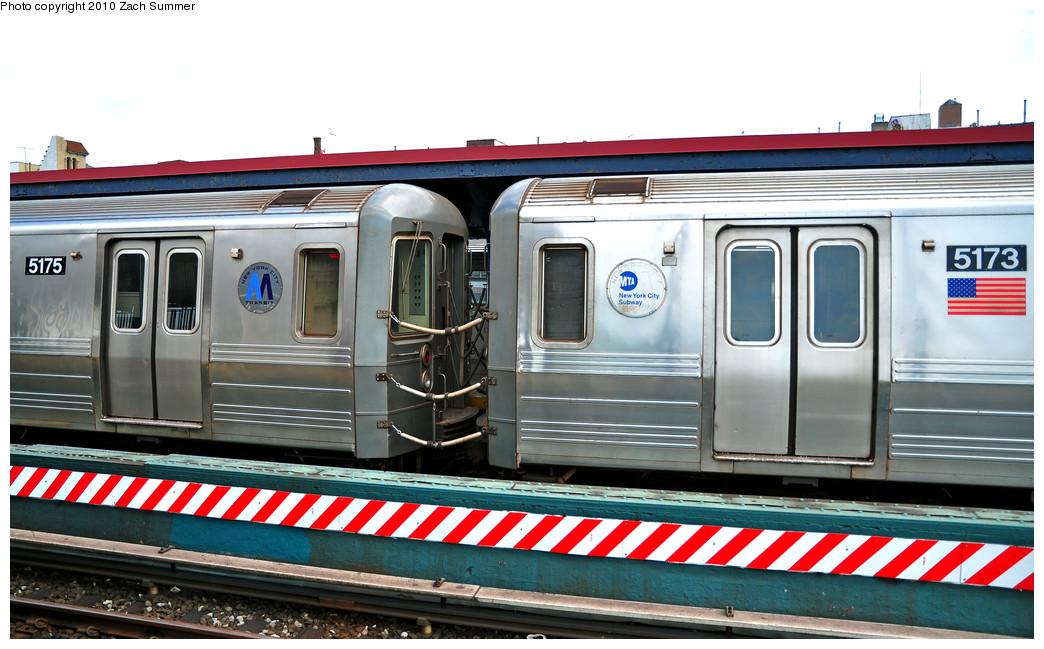 (240k, 1044x649)<br><b>Country:</b> United States<br><b>City:</b> New York<br><b>System:</b> New York City Transit<br><b>Line:</b> BMT Brighton Line<br><b>Location:</b> Brighton Beach <br><b>Route:</b> B<br><b>Car:</b> R-68A (Kawasaki, 1988-1989)  5175/5173 <br><b>Photo by:</b> Zach Summer<br><b>Date:</b> 6/23/2010<br><b>Notes:</b> Note old & new MTA Logos<br><b>Viewed (this week/total):</b> 0 / 1555