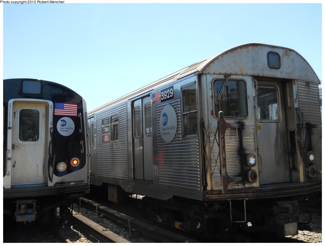 (221k, 1044x788)<br><b>Country:</b> United States<br><b>City:</b> New York<br><b>System:</b> New York City Transit<br><b>Location:</b> East New York Yard/Shops<br><b>Car:</b> R-32 (Budd, 1964)  3929 <br><b>Photo by:</b> Robert Mencher<br><b>Date:</b> 7/3/2010<br><b>Viewed (this week/total):</b> 2 / 578