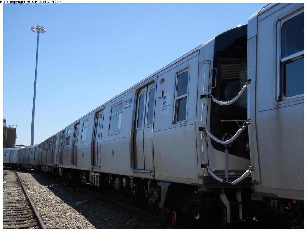 (216k, 1044x788)<br><b>Country:</b> United States<br><b>City:</b> New York<br><b>System:</b> New York City Transit<br><b>Location:</b> East New York Yard/Shops<br><b>Car:</b> R-160A-1 (Alstom, 2005-2008, 4 car sets)  8588 <br><b>Photo by:</b> Robert Mencher<br><b>Date:</b> 7/3/2010<br><b>Viewed (this week/total):</b> 2 / 440