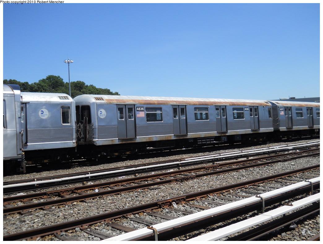 (294k, 1044x788)<br><b>Country:</b> United States<br><b>City:</b> New York<br><b>System:</b> New York City Transit<br><b>Location:</b> East New York Yard/Shops<br><b>Car:</b> R-42 (St. Louis, 1969-1970)  4836 <br><b>Photo by:</b> Robert Mencher<br><b>Date:</b> 7/3/2010<br><b>Viewed (this week/total):</b> 4 / 458
