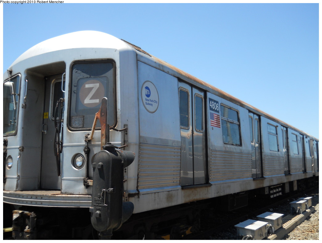 (215k, 1044x788)<br><b>Country:</b> United States<br><b>City:</b> New York<br><b>System:</b> New York City Transit<br><b>Location:</b> East New York Yard/Shops<br><b>Car:</b> R-42 (St. Louis, 1969-1970)  4806 <br><b>Photo by:</b> Robert Mencher<br><b>Date:</b> 7/3/2010<br><b>Viewed (this week/total):</b> 1 / 496