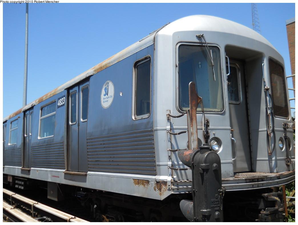 (241k, 1044x788)<br><b>Country:</b> United States<br><b>City:</b> New York<br><b>System:</b> New York City Transit<br><b>Location:</b> East New York Yard/Shops<br><b>Car:</b> R-42 (St. Louis, 1969-1970)  4823 <br><b>Photo by:</b> Robert Mencher<br><b>Date:</b> 7/3/2010<br><b>Viewed (this week/total):</b> 0 / 476