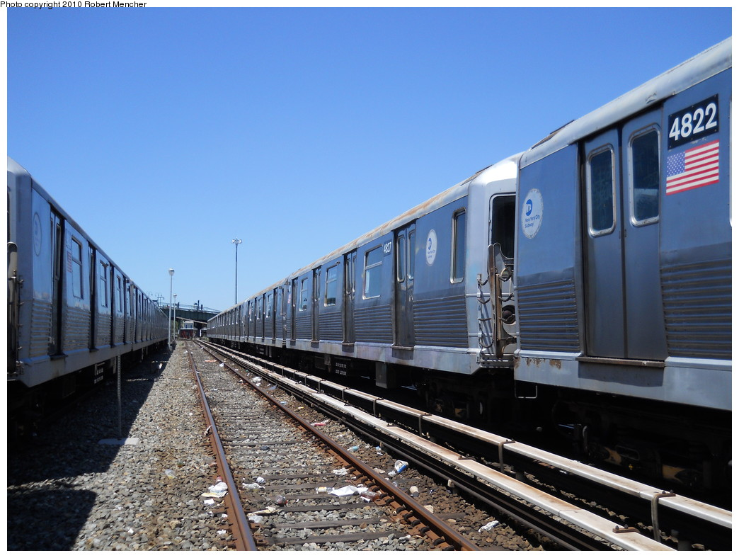 (276k, 1044x788)<br><b>Country:</b> United States<br><b>City:</b> New York<br><b>System:</b> New York City Transit<br><b>Location:</b> East New York Yard/Shops<br><b>Car:</b> R-42 (St. Louis, 1969-1970)  4827 <br><b>Photo by:</b> Robert Mencher<br><b>Date:</b> 7/3/2010<br><b>Viewed (this week/total):</b> 1 / 521