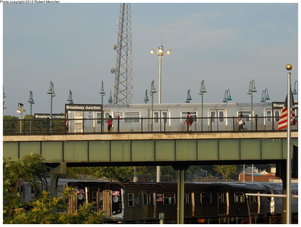 (257k, 1044x788)<br><b>Country:</b> United States<br><b>City:</b> New York<br><b>System:</b> New York City Transit<br><b>Line:</b> BMT Canarsie Line<br><b>Location:</b> Broadway Junction <br><b>Route:</b> L<br><b>Car:</b> R-143 (Kawasaki, 2001-2002) 8168 <br><b>Photo by:</b> Robert Mencher<br><b>Date:</b> 7/17/2010<br><b>Viewed (this week/total):</b> 0 / 1029