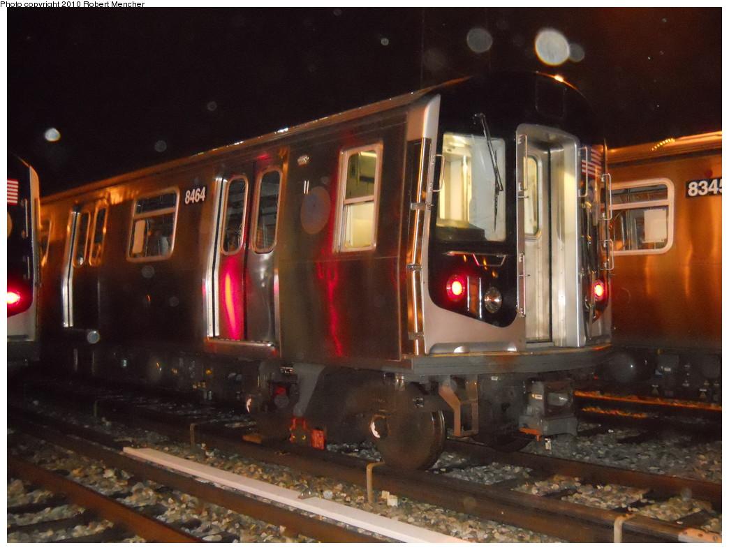 (259k, 1044x788)<br><b>Country:</b> United States<br><b>City:</b> New York<br><b>System:</b> New York City Transit<br><b>Location:</b> East New York Yard/Shops<br><b>Car:</b> R-160A-1 (Alstom, 2005-2008, 4 car sets)  8464 <br><b>Photo by:</b> Robert Mencher<br><b>Date:</b> 7/17/2010<br><b>Viewed (this week/total):</b> 0 / 665