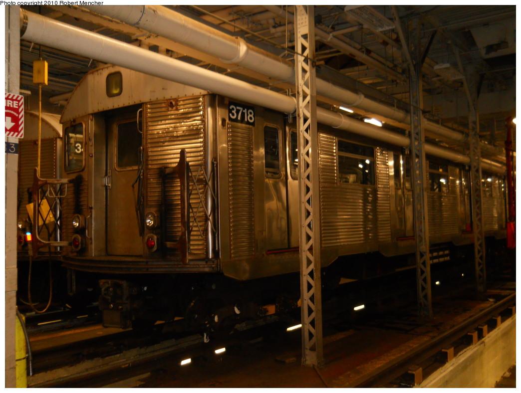 (266k, 1044x788)<br><b>Country:</b> United States<br><b>City:</b> New York<br><b>System:</b> New York City Transit<br><b>Location:</b> East New York Yard/Shops<br><b>Car:</b> R-32 (Budd, 1964)  3718 <br><b>Photo by:</b> Robert Mencher<br><b>Date:</b> 7/17/2010<br><b>Viewed (this week/total):</b> 0 / 590
