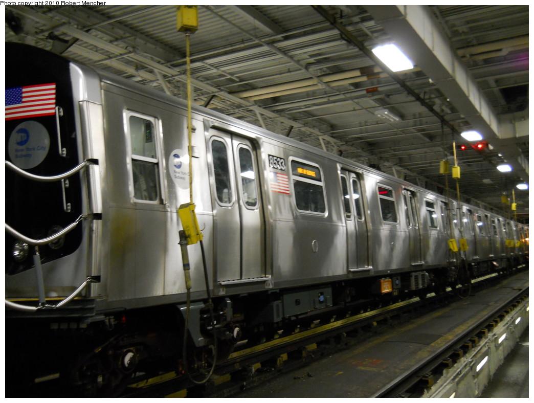 (254k, 1044x788)<br><b>Country:</b> United States<br><b>City:</b> New York<br><b>System:</b> New York City Transit<br><b>Location:</b> East New York Yard/Shops<br><b>Car:</b> R-160A-1 (Alstom, 2005-2008, 4 car sets)  8533 <br><b>Photo by:</b> Robert Mencher<br><b>Date:</b> 7/17/2010<br><b>Viewed (this week/total):</b> 1 / 901