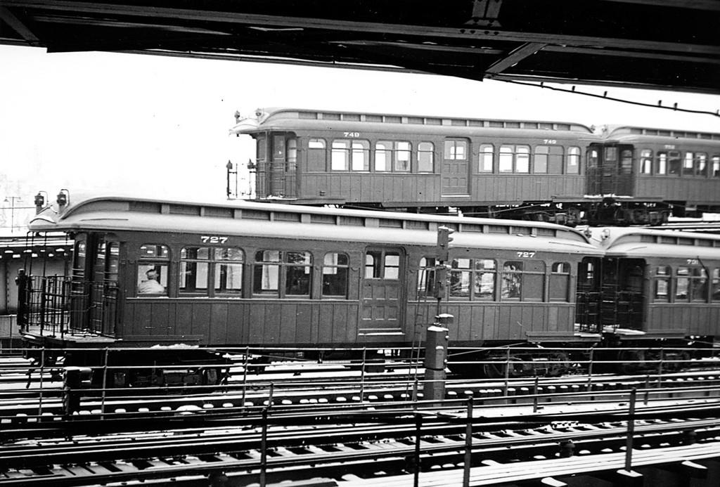 (197k, 1024x693)<br><b>Country:</b> United States<br><b>City:</b> New York<br><b>System:</b> New York City Transit<br><b>Location:</b> East New York Yard/Shops<br><b>Car:</b> BMT Elevated Gate Car 749-752-727-731 <br><b>Collection of:</b> George Conrad Collection<br><b>Date:</b> 2/22/1950<br><b>Viewed (this week/total):</b> 0 / 1238