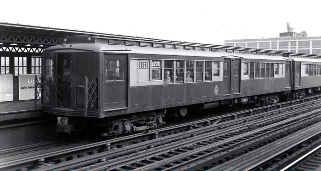 (132k, 1024x547)<br><b>Country:</b> United States<br><b>City:</b> New York<br><b>System:</b> New York City Transit<br><b>Line:</b> BMT Culver Line<br><b>Location:</b> 13th Avenue <br><b>Car:</b> BMT-SIRT 2920 <br><b>Collection of:</b> George Conrad Collection<br><b>Date:</b> 11/12/1955<br><b>Notes:</b> Train heading toward Ft. Hamilton Pkwy station<br><b>Viewed (this week/total):</b> 1 / 2061