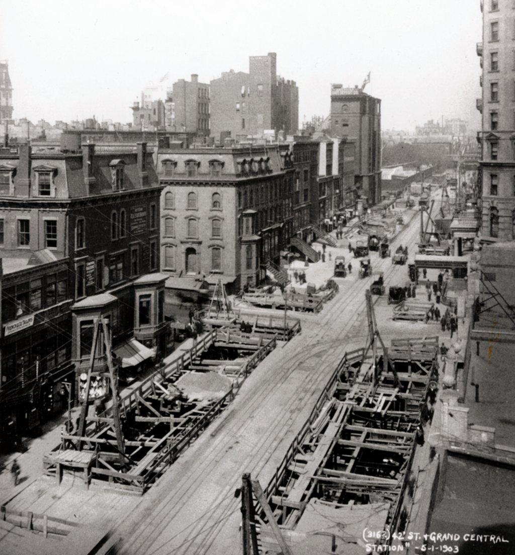 (207k, 1024x1104)<br><b>Country:</b> United States<br><b>City:</b> New York<br><b>System:</b> New York City Transit<br><b>Line:</b> IRT Times Square-Grand Central Shuttle<br><b>Location:</b> Grand Central <br><b>Collection of:</b> J. McDonald Vanderbilt<br><b>Date:</b> 6/1/1903<br><b>Notes:</b> Construction at 42nd/Grand Central<br><b>Viewed (this week/total):</b> 3 / 1976