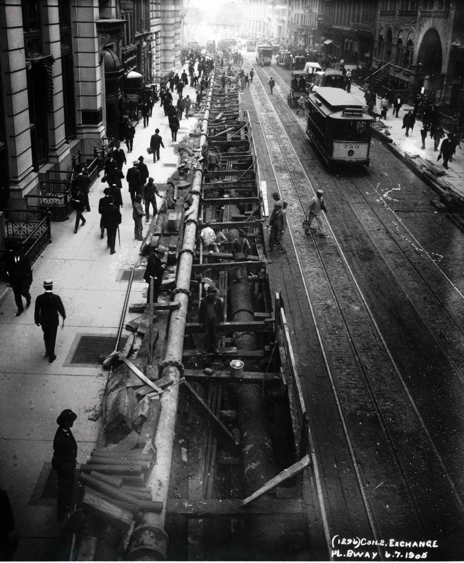 (309k, 940x1140)<br><b>Country:</b> United States<br><b>City:</b> New York<br><b>System:</b> New York City Transit<br><b>Line:</b> IRT East Side Line<br><b>Location:</b> Wall Street <br><b>Collection of:</b> J. McDonald Vanderbilt<br><b>Date:</b> 6/7/1905<br><b>Notes:</b> Construction at Broadway at Exchange Pl. tsouth of Wall St.<br><b>Viewed (this week/total):</b> 0 / 1814