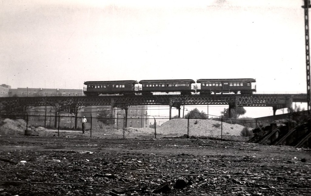 (157k, 1024x645)<br><b>Country:</b> United States<br><b>City:</b> New York<br><b>System:</b> New York City Transit<br><b>Line:</b> BMT Culver Line<br><b>Location:</b> Avenue X <br><b>Car:</b> BMT Elevated Gate Car 741/203/756 <br><b>Collection of:</b> George Conrad Collection<br><b>Date:</b> 8/30/1951<br><b>Viewed (this week/total):</b> 0 / 2331