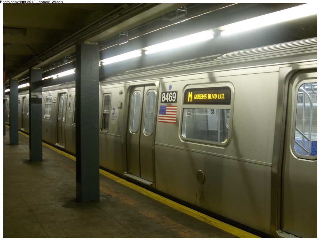 (191k, 1044x788)<br><b>Country:</b> United States<br><b>City:</b> New York<br><b>System:</b> New York City Transit<br><b>Line:</b> IND Queens Boulevard Line<br><b>Location:</b> Northern Boulevard <br><b>Route:</b> M<br><b>Car:</b> R-160A-1 (Alstom, 2005-2008, 4 car sets)  8469 <br><b>Photo by:</b> Leonard Wilson<br><b>Date:</b> 7/9/2010<br><b>Notes:</b> New M Queens Blvd. LCL service<br><b>Viewed (this week/total):</b> 7 / 2290