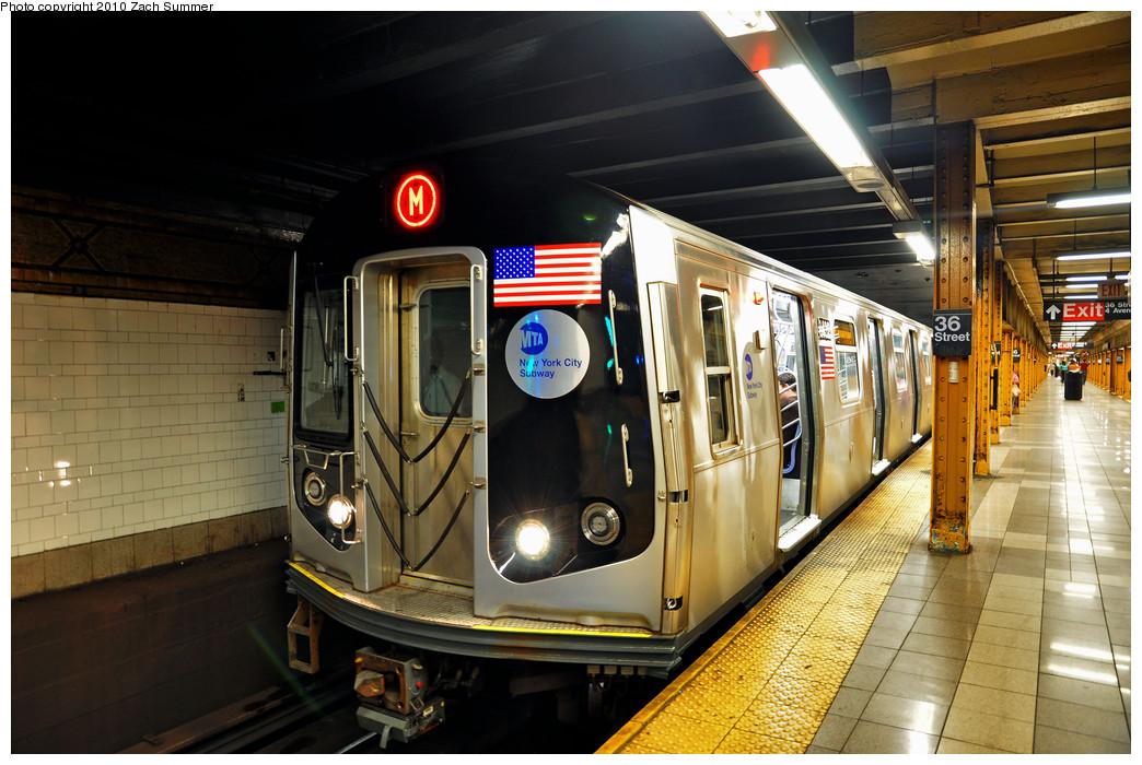 (270k, 1044x700)<br><b>Country:</b> United States<br><b>City:</b> New York<br><b>System:</b> New York City Transit<br><b>Line:</b> BMT 4th Avenue<br><b>Location:</b> 36th Street <br><b>Route:</b> M<br><b>Car:</b> R-160A-1 (Alstom, 2005-2008, 4 car sets)  8432 <br><b>Photo by:</b> Zach Summer<br><b>Date:</b> 6/25/2010<br><b>Notes:</b> The last Manhattan-bound M train via 4 Av. Last day of Nassau St/South Brooklyn M service.<br><b>Viewed (this week/total):</b> 8 / 1599