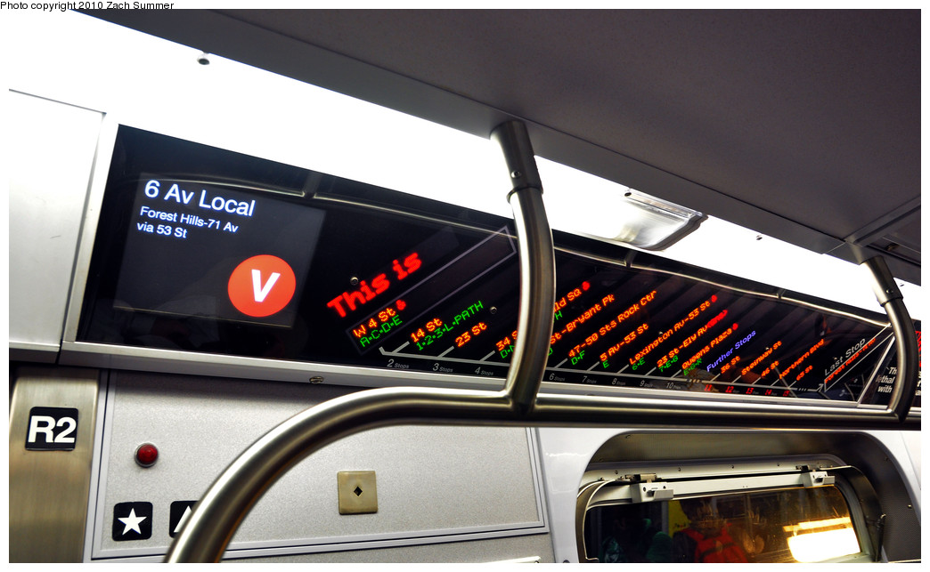(211k, 1044x643)<br><b>Country:</b> United States<br><b>City:</b> New York<br><b>System:</b> New York City Transit<br><b>Route:</b> V<br><b>Car:</b> R-160A (Option 1) (Alstom, 2008-2009, 5 car sets)  9493 <br><b>Photo by:</b> Zach Summer<br><b>Date:</b> 6/25/2010<br><b>Notes:</b> F.I.N.D. Display. Last day of V service.<br><b>Viewed (this week/total):</b> 2 / 1073