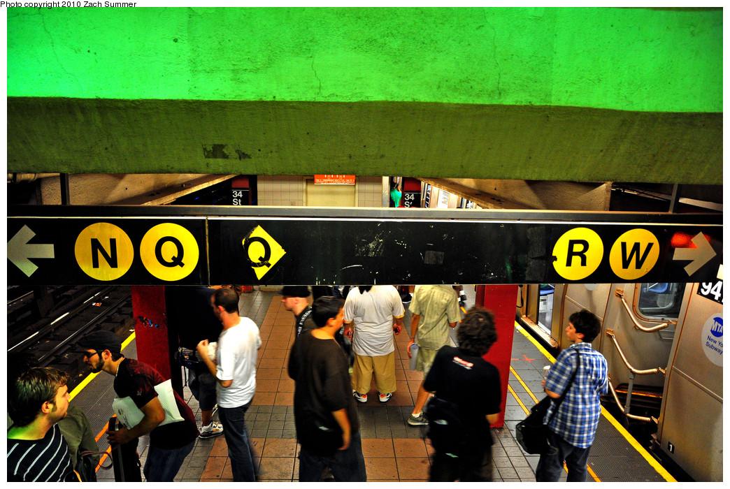 (328k, 1044x700)<br><b>Country:</b> United States<br><b>City:</b> New York<br><b>System:</b> New York City Transit<br><b>Line:</b> BMT Broadway Line<br><b>Location:</b> 34th Street/Herald Square <br><b>Photo by:</b> Zach Summer<br><b>Date:</b> 6/25/2010<br><b>Notes:</b> Remnants of the diamond Q. Last day of W service.<br><b>Viewed (this week/total):</b> 0 / 2308