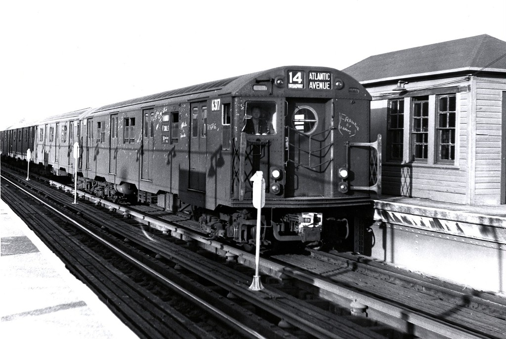 (183k, 1024x686)<br><b>Country:</b> United States<br><b>City:</b> New York<br><b>System:</b> New York City Transit<br><b>Line:</b> BMT Canarsie Line<br><b>Location:</b> Atlantic Avenue <br><b>Route:</b> BMT 14<br><b>Car:</b> R-16 (American Car & Foundry, 1955) 6317 <br><b>Collection of:</b> George Conrad Collection<br><b>Date:</b> 10/19/1962<br><b>Viewed (this week/total):</b> 3 / 2974