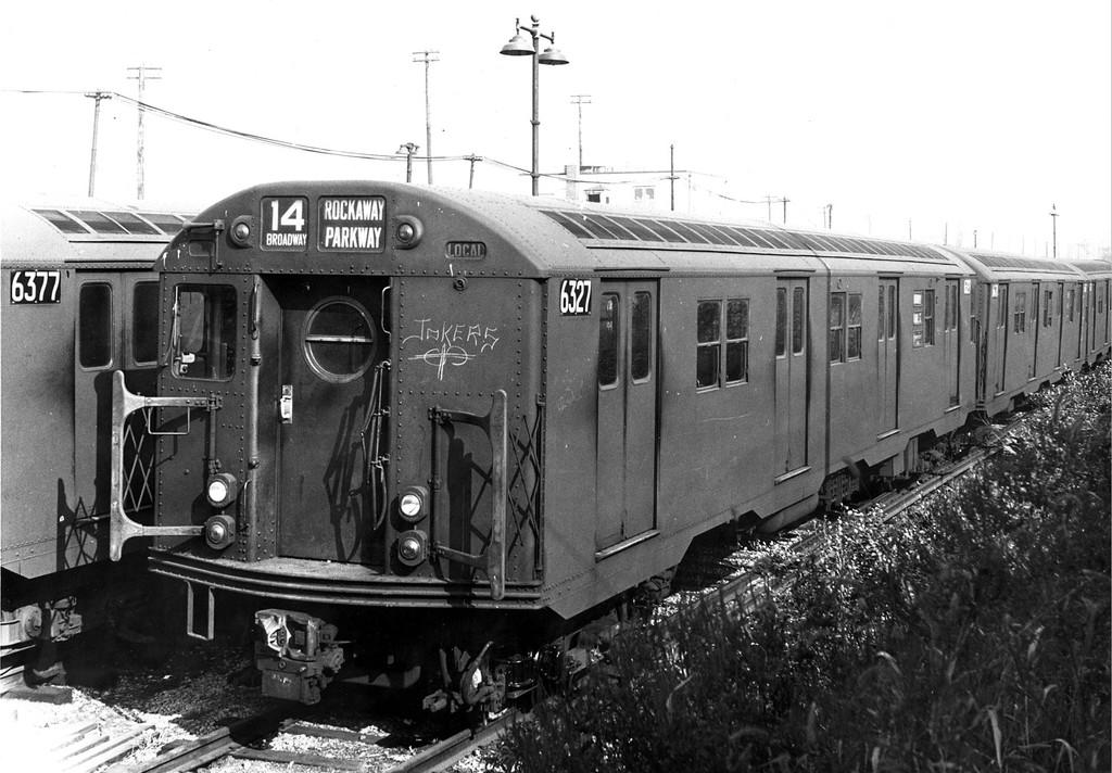 (192k, 1024x712)<br><b>Country:</b> United States<br><b>City:</b> New York<br><b>System:</b> New York City Transit<br><b>Location:</b> Rockaway Parkway (Canarsie) Yard<br><b>Car:</b> R-16 (American Car & Foundry, 1955) 6327 <br><b>Collection of:</b> George Conrad Collection<br><b>Date:</b> 10/26/1963<br><b>Viewed (this week/total):</b> 1 / 1417