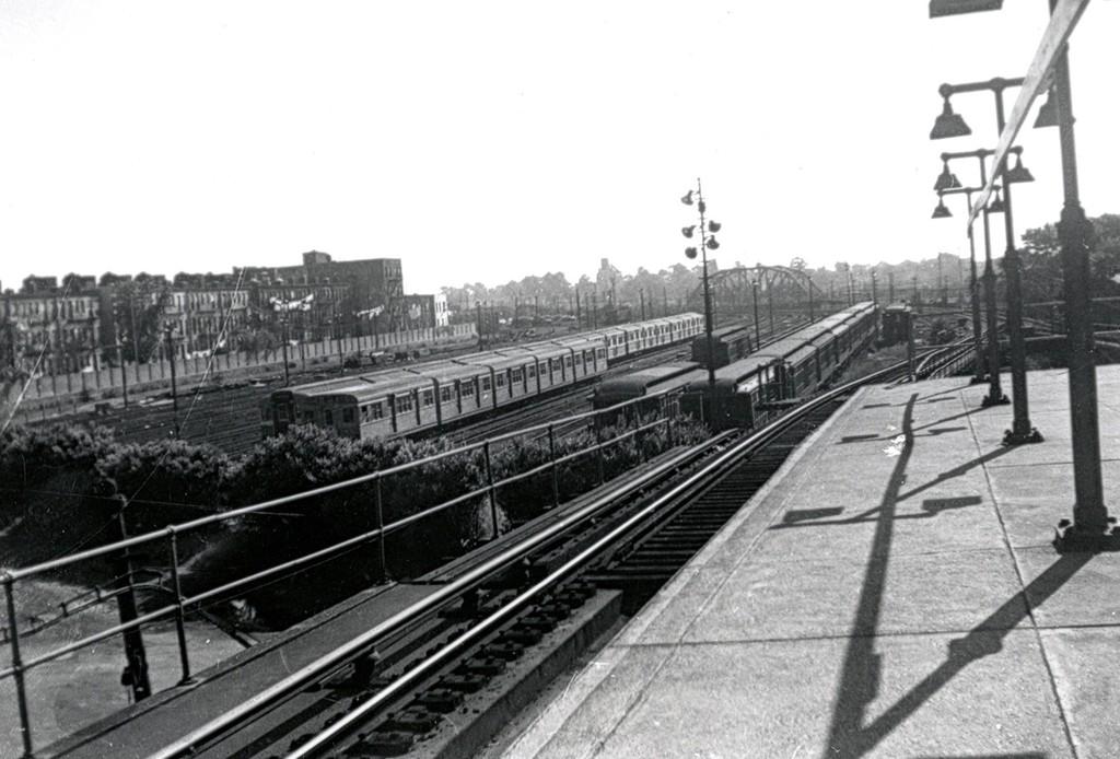 (162k, 1024x694)<br><b>Country:</b> United States<br><b>City:</b> New York<br><b>System:</b> New York City Transit<br><b>Location:</b> Fresh Pond Yard<br><b>Car:</b> BMT Zephyr 7029 <br><b>Collection of:</b> George Conrad Collection<br><b>Date:</b> 6/26/1956<br><b>Viewed (this week/total):</b> 3 / 2104